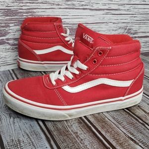 Vans kids Red and white sneakers size 4.5 high top